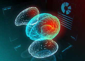 Brain research or diagnostic on the digital model in virtual reality. 3d illustration.