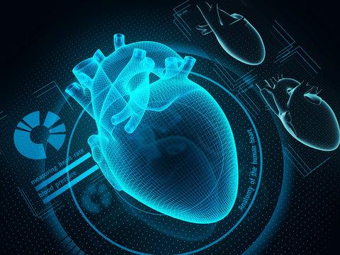 The human heart diagnostic through artificial inteligence technology. Sci-fi medicine. 3d illustration.