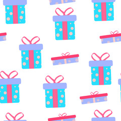 Cute party presents seamless pattern