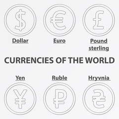 Set of six lineart icon with currency signs of the world. Lineart dollar, euro, pound sterling, yen, hryvnia and ruble.