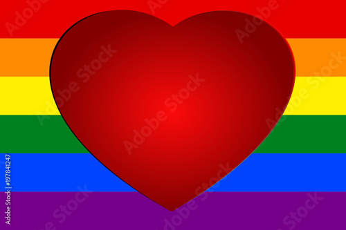 Red Heart On Colorful Rainbow Striped Background The Symbolic