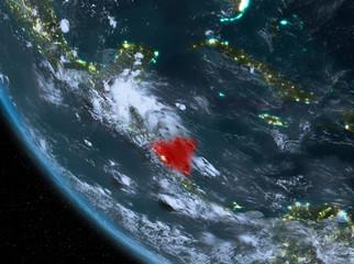 Night view of Nicaragua on Earth