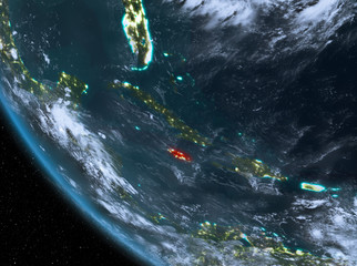 Night view of Jamaica on Earth