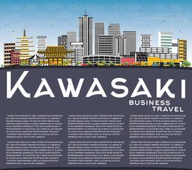 Kawasaki Japan City Skyline with Color Buildings, Blue Sky and Copy Space.
