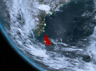 Night view of Sri Lanka on Earth