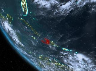 Night view of Haiti on Earth