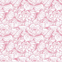 Beautiful water lily flower lotus seamless pattern