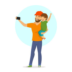 father and son taking selfie cute cartoon isolated vector illustration scene