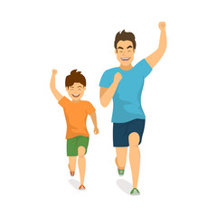 healthy active family lifestyle, father and son running jogging together, isolated vector illustration front view scene
