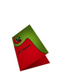 Grußkarte mit Eid Mubarak in grün rot auf weiß isoliert. 3d Render