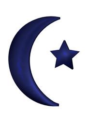 blauer Halbmond mit Stern. Auf weiß isoliert. 3d Render
