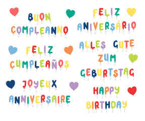 Set of Happy Birthday quotes made of balloons in English, Spanish, Italian, Portuguese, French, German. Isolated objects on white background. Vector illustration. Design concept for kids, celebration.