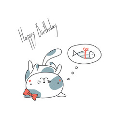Hand drawn Happy Birthday greeting card with cute funny cartoon cat with a ribbon lying on its back, thinking of fish. Isolated objects on white background. Vector illustration. Design concept kids.