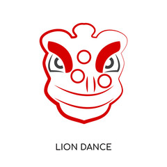 lion dance logo isolated on white background for your web, mobile and app design