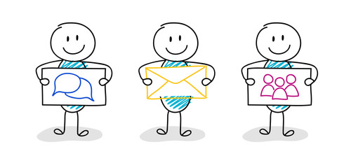 Business icons - concept with hand drawn stickman. Vector.