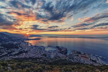 Fototapete - Monaco sunrise viewed from La Turbie