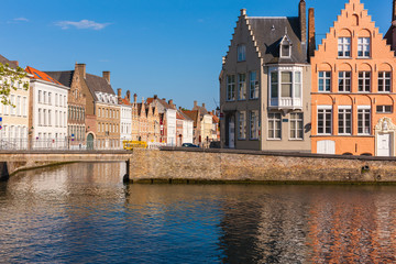 Cityscape at intersection of two canals, Bruges, Brugge, Belgium