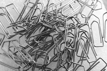 Metal paperclips in the office