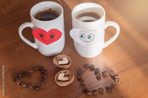 Good Morning Coffee Cups On Valentines Day Stock Photo And Royalty