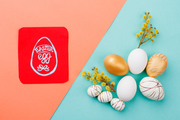 Easter holiday concept. Easter eggs and card. Congratulatory Easter background. Best Easter eggs design.