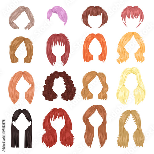 Hairstyle woman vector female haircut on short or long hair