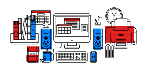 Modern office tools in outline flat style on white background. Desktop computer, bookshelve, calendar, printer, clock, etc.
