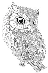 Color Therapy: An Anti-Stress Coloring Book. Owl.