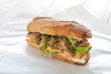Philly beef steak cheese sandwich