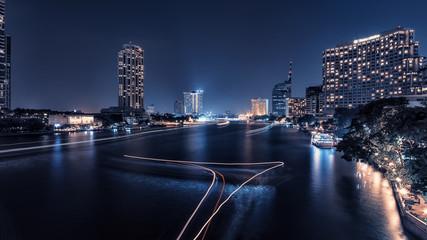 Fototapete - Bangkok city  twilight panorama