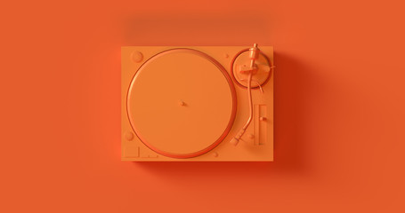 Orange Yellow Record Player Turntable 3d illustration