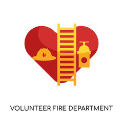 volunteer fire department logo isolated on white background for your web, mobile and app design