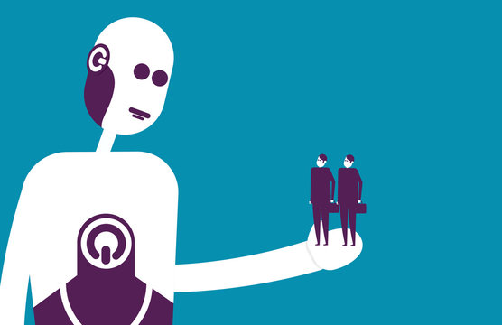 Robot holding human. Vector illustration replacement business concept.