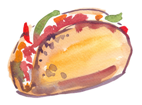 Hard shell taco with vegetables painted in watercolor on clean white background