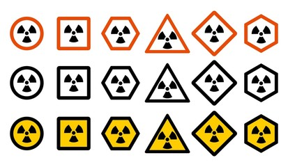Industry concept. Set of different radiation hazard signs for your web site design, logo, app, UI. Radioactive nuclear symbol isolated on white background. Radioactivity. Dangerous area Icons.