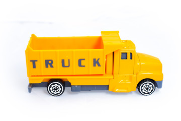 Toy truck yellow vehicles for kid children on white background