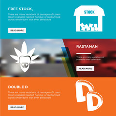double d, rastaman, free stock, horizontal webpage banners template design concept on abstract background with red,blue,orange flat modern isolated vector icons illustration.