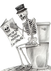 Art Skull read newspaper in toilet day of the dead. Hand pencil drawing on paper.