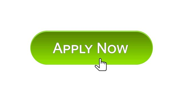 Apply now web interface button clicked mouse cursor, green color, employment