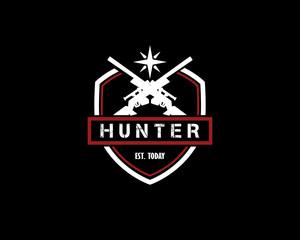 dual sniper vintage design illustration,vintage design style, designed for print and logo