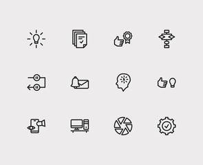 Work icons set. Reward yourself and work icons with manage stress, tasks and personal computer. Set of elements including organization for web app logo UI design.