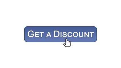 Get a discount web interface button clicked with mouse cursor, violet color