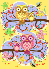 A happy family of owls on flowering tree branches, moms and children. Spring, summer, care. Mothers Day