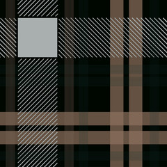 white nd black platinum checkered plaid tartan seamless pattern. Vector illustration.