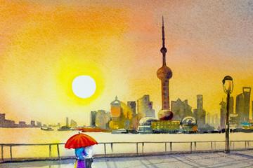 Wall Murals Yellow Beautiful shanghai, in China.