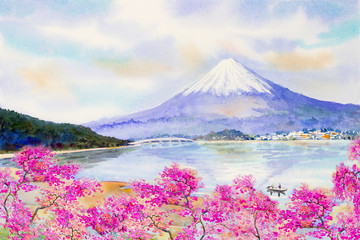 Mount Fuji and sakura cherry blossom at Lake.