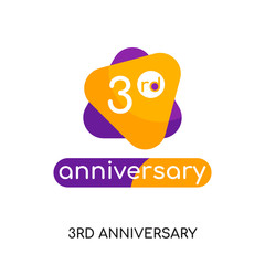 3rd anniversary logo isolated on white background for your web, mobile and app design