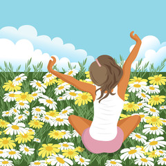 Woman stretching in field. Summer holiday and vacation concept. Flat vector illustration