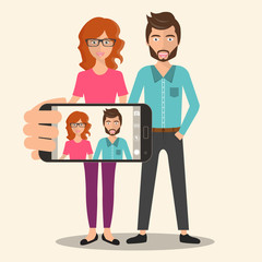 Girl and boy taking self photo. Social media network concept. Selfie concept. Flat vector illustration.