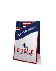 Gehwegaufsteller mit amerikanischer Flagge und Text mit rabatt verkauf für den unabhängigkeitstag am 4. July. 3d Render