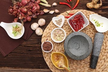Herb ingredient of Tom Yum spicy soup Traditional Thai food cuisine on wood background